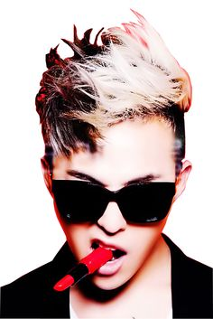 Big Bang G-Dragon Blonde Black Medium Messy Textured Fauxhawk