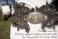 Belt handmade from repurposed cowboy boots