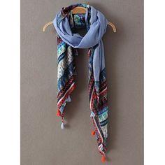 Ethnic Triangle Stripe Pattern Tassel Pashmina #shoes, #jewelry, #women, #men, #hats, #watches, #belts