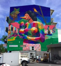 "OKUDART - for ONO'U fest 2017 - Mural inspired on ""La femme au fruit"" by Paul Gauguin - Papeete, Tahiti / Photo by Joz Street Wall Art, Street Art Graffiti, Okuda, Grafiti, Paul Gauguin, Visual Effects, Art Of Living, Rue, Paintings"