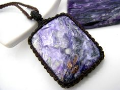 Charoite Necklace,  Charoite jewelry, Pendant, Crystal necklaces, Macrame necklace, Romantic Bohemian,  Healing stone,  gift idea for her