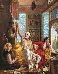 Horsley, Walter Charles (b,1855)- Bored Women & Old Man Reliving His Youth, in Harem, 1883