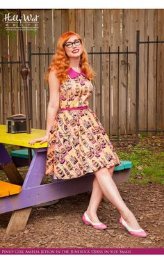 Pinup Couture- Junebugs Dress in Birdcage Print in Sherbet Orange | Pinup Girl Clothing