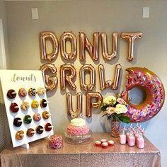 Donut Grow Up Birthday Party Ideas 2nd Birthday Party Themes, Donut Birthday Parties, 1st Birthday Girls, Birthday Party Decorations, Graduation Decorations, 18th Birthday Party Ideas For Girls, Cute Birthday Ideas, Graduation Ideas, Donut Party