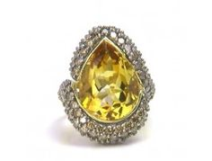 11.00 ct Citrine & 3.10 ctw Diamond 14K Ring