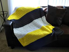 Modern Multi Colored Blanket Afghan Throw - Color Block Throw - Yellow Grey Gray White