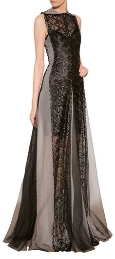 Sheer paneled and floor-length, this elegant gown from Marios Schwab makes a glamorous entrance #Stylebop