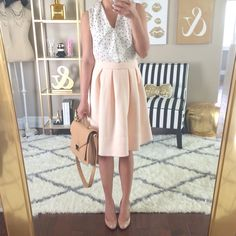 Pleated blush peach skirt, polka dot chiffon ruffle shell, nude Louboutin pumps and camel bag // http://www.stylishpetite.com/2015/03/instagram-lately-daily-outfits-outfit.html