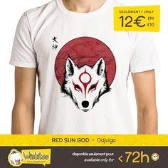 """(EN) """"Red Sun God"""" designed by the astounding Ddjvigo is our NEW T-SHIRT. Available 72 hours order yours today for only 12/$14/10 on WWW.WISTITEE.COM (FR) """"Red Sun God"""" créé par l'incroyable Ddjvigo est notre NOUVEAU T-SHIRT. Disponible 72 heures réservez-le dès maintenant pour seulement 12 sur WWW.WISTITEE.COM  #Okami #Amaterasu #Shiranui #LoupBlanc #WhiteWolf #Ddjvigo #wistitee #design #tshirt #limitededition"""