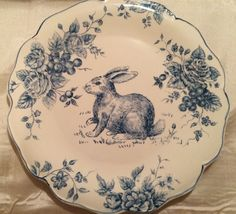 "MAXCERA Blue & White Toile Easter Bunny 13"" Round Cake Plate/Serving Platter NEW #Maxcera"