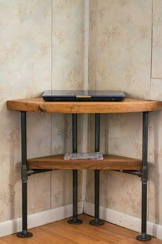 Reclaimed Wood Corner Table Desk- Solid Oak W/ 26 Black Iron Pipe legs. - Desk Wood - Ideas of Desk Wood - Reclaimed Wood Corner Table Desk- Solid Oak W/ 26 Black Iron Pipe legs. Table D'angle, Pipe Table, Pipe Furniture, Home Office Furniture, Furniture Design, Furniture Vintage, Industrial Furniture, Into The Woods, Small Corner Table