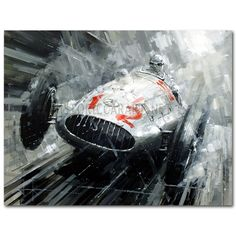 End of an Era Painting by John Ketchell - The 1939 German Grand Prix at the Nurburging - Caracciola - Mercedes.