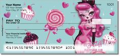 Sugar Doll Candy Pinup by Miss Fluff. Available in personal checks, address labels and checkbook covers. https://www.checkadvantage.com/sugar-doll-checks