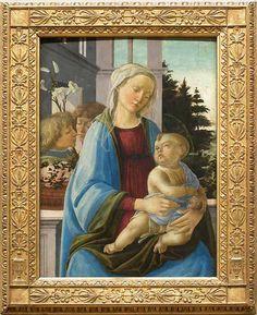 La Vierge et l'Enfant avec deux anges, dite La Vierge à la grenade Vers 1472 - 1475 ? H. : 0,79 m. ; L. : 0,55 m.