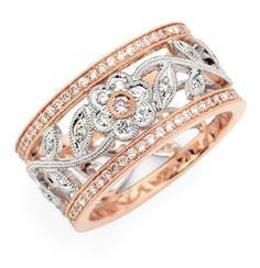 Rose gold, white gold, gorgeous white diamonds, and a pink diamond at the…