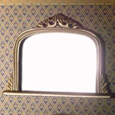 Ornate 'gold' mantel mirror, with elaborate scrollwork 70 x 95 x 8mm, dollhouse style, 1:12 scale