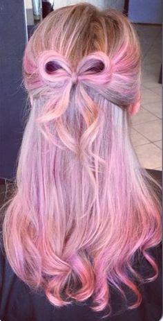 ℒᎧᏤᏋ her pretty pastel pink & purple half pulled back hair bow!!!! ღ❤ღ