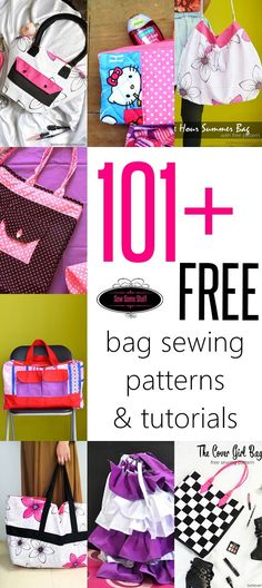 101 FREE bag sewing patterns and tutorials on http://sewsomestuff.com. Looking for the perfect FREE bag sewing pattern? Check out this list with 100+ free bag patterns to get you started with sewing bags. The list includes simple totes as well as complex bag patterns to practice your skills. CHECK OUT NOW!