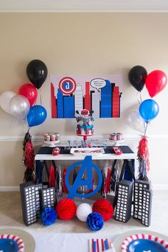 Avenger super hero party ideas super hero party в 2019 г. Avengers Birthday, Superhero Birthday Party, 3rd Birthday Parties, Boy Birthday, Captain America Party, Captain America Birthday, Iron Man Party, Party Themes For Boys, Superman