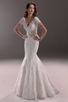 Mermaid V-neck Short Sleeves Lace Over Satin With Ribbon Belt And Crystal Elegant Wedding Dress