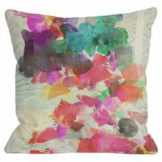 """Pillow with an abstract motif. Made in the USA.  Product: PillowConstruction Material: Polyester cover and polyester fillColor: MultiFeatures:  Insert includedSewn closure6-Color digital printing processMade in the USA Dimensions: 18"""" x 18""""Cleaning and Care: Spot clean only"""