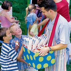 Cute idea to serve food at carnival party - this would be fun to see if parent volunteers can walk around selling popcorn or cold drinks