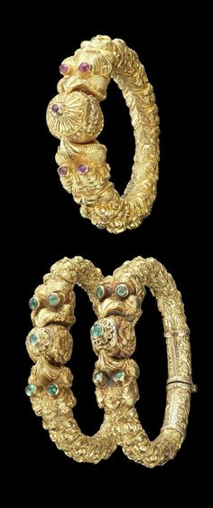 India - Madras | Repousse gold bangles, with makara heads with mouths open holding a bud terminals; gold, rubies and emeralds | 19th century | Top) 3'500   and Bottom) 5'250£.  Sold (Oct '11)