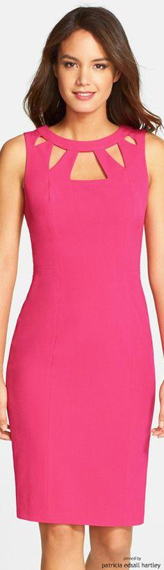 Fuchsia Deep V-neck Party Dress Simple Dresses, Elegant Dresses, Cute Dresses, Beautiful Dresses, Short Dresses, Ladies Dresses, 50s Dresses, Mini Dresses, Dresses Online