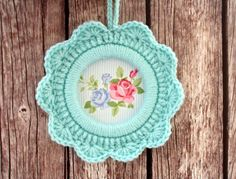 Crochet Ornament / Crochet flower frame. $18,00, via Etsy.