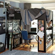 bunk bed with office underneath