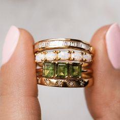 Emerald Band Ring, Emerald Cut Rings, Diamond Bands, Gold Bands, Diamond Cuts, Tourmaline Ring, Green Tourmaline, Anniversary Bands, Diamond Anniversary