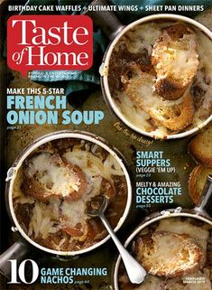 Browse Taste of Home recipes by course, cooking style, cuisine, ingredient, holiday and more categories to find a new family-favorite recipe. Chocolate Desserts, Fun Desserts, Taste Of Home Magazine, Waffle Cake, Onion Soup, Potato Soup, Baked Potato, Coconut Recipes, French Onion