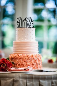 Orange ombre wedding cake with frosting rosettes  #wedding #cake #Michiganwedding #Chicagowedding #MikeStaffProductions #wedding #reception #weddingphotography #weddingdj #weddingvideography #wedding #photos #wedding #pictures #ideas #planning #DJ #photography