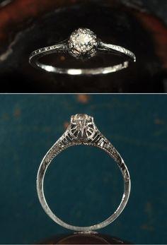 1930s 0.30ct European Cut Diamond Engagement Ring with   18K White Gold Filigree