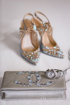 Rene Caovilla iridecent rhinestone heels, shoes with bling, Chanel clutch, Photographed at the Ritz-Carlton, Half Moon Bay. San Fransisco, Bay Area, Destination Wedding. Natural light photography.