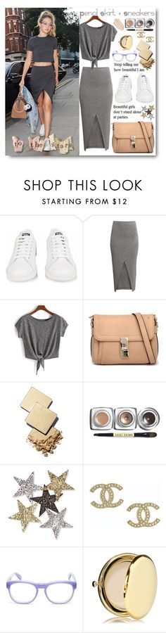 """Untitled #188"" by tinaisapenguin ❤ liked on Polyvore featuring adidas, H&M, Tony Bianco, Korres, Bobbi Brown Cosmetics, Anderson's Belts, Chanel, Wildfox, Estée Lauder and Stila"
