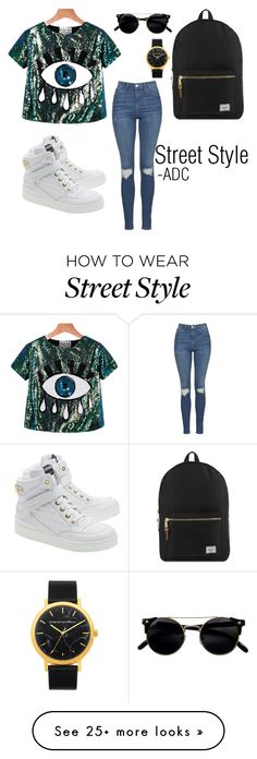 """""""Street Style"""" by anatiller on Polyvore featuring Topshop, Moschino and Herschel Supply Co."""