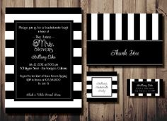 Bachelorette or Birthday Party Invitation Stationery Set of 20 - French Black & White Striped - Invite,Thank You, Favor Tags, Address Label. $45.00, via Etsy.