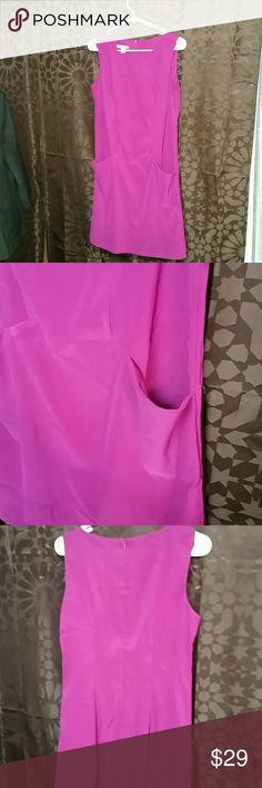 Dress Barn dress size 8 Fuchsia colored dress buy Dress Barn size 8 with front schmuck pockets materials are 97% polyester and 3% spandex measurements length flat are armpit to armpit 16 inches length from shoulder down is 37 inches Dress Barn Dresses