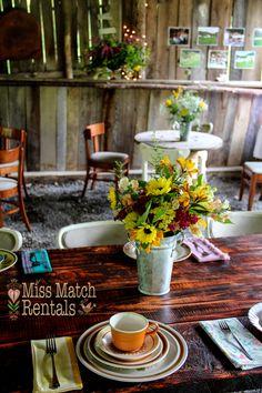 barn wedding, farm tables, vintage dinnerware, wildflowers