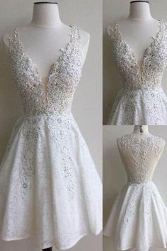 White lace V-neck sequins A-line short prom dresses graduation dress for teens with straps