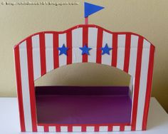 School Holiday Fun - DIY Kids: Tabletop Puppet Theatre - encourage language and literacy development and awareness of social conventions through storytelling with puppets Carnival Themes, Circus Theme, Circus Party, Kirigami, Diy For Kids, Crafts For Kids, Puppet Crafts, Cardboard Toys, Finger Puppets