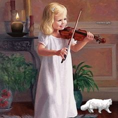 Painting of little playing the violin. Oil Pastel Paintings, Paintings I Love, Painting For Kids, Art For Kids, Winter Gif, Natur Wallpaper, Cartoon Painting, Gifs, Children Images