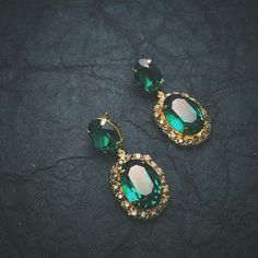 NEW Classics now online. Starting with this vintage emerald toned earrings. . . .  Shop Online : http://ift.tt/1Y0ry6c International Orders:  Contact: order@maithilikabre.com