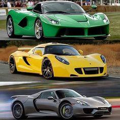 Which of this trio do you like best  Laferrari - venom gt - 918 Via @thecarsyouwant_ #exoticworldofcars #ftypegang #bmw #benz #m3 #laferrari #m5 #theautomotivesquad #carsphotopage #chiron #gtr #aventador  #thecarfeed #ferrari #lamborghini #bentley  #hypercar #audi #bmw #porsche #pagani  #carspotting #exotic #exoticcars #lotus #lfa