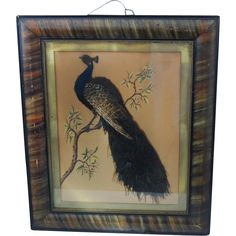 Victorian Folk Art Peacock Feather and Painting on Paper Grain Painted Frame