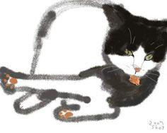 Shozo Ozaki Asian Cat, Cat Allergies, Son Chat, Cat Drawing, Character Illustration, Pet Portraits, Cool Cats, Japanese Art, Cat Art