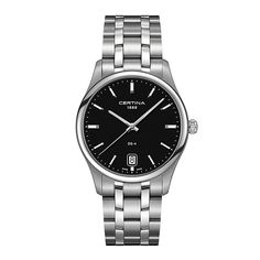 £310.00 A sleek DS-4 Big Size bracelet watch by Swiss watchmaker Certina, crafted in shining stainless steel. A black dial features: quartz movement, date window at six oclock, luminous hour markers