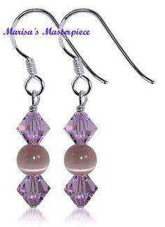 crystal and tigers eye earrings Simple Bead Earrings, Jewelry Design Earrings, Simple Jewelry, Designer Earrings, Beaded Earrings, Earrings Handmade, Jewellery, Silver Earrings, Swarovski Jewelry