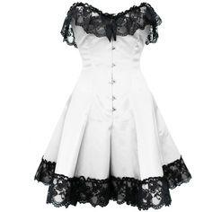 White Gothic Steel Boned Lace Corset Dress